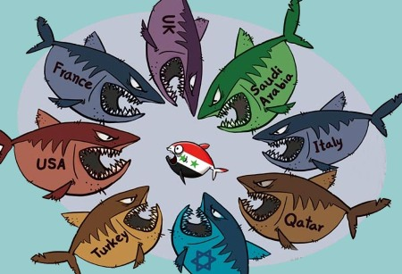 Syria cartoon sharks