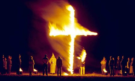 Ku Klux Klan burning cross