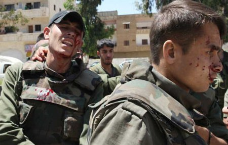 Wounded Syrian soldiers inn Daraa