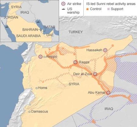 air strikes map