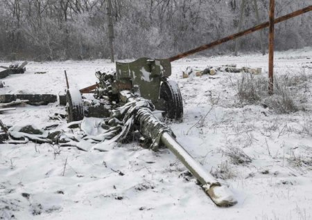destroyed artillery snow