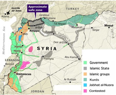 Syria map safe zone