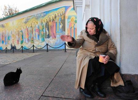 Ukraine woman beggar cat