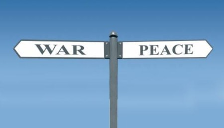 war peace road sign
